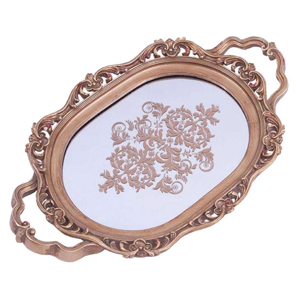 Bandeja Espelho Oval Dourada de Metal - 39x25 cm