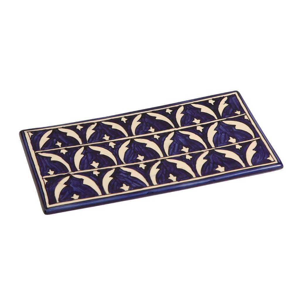 Bandeja Estampada Azul em Cerâmica - 30x18 cm