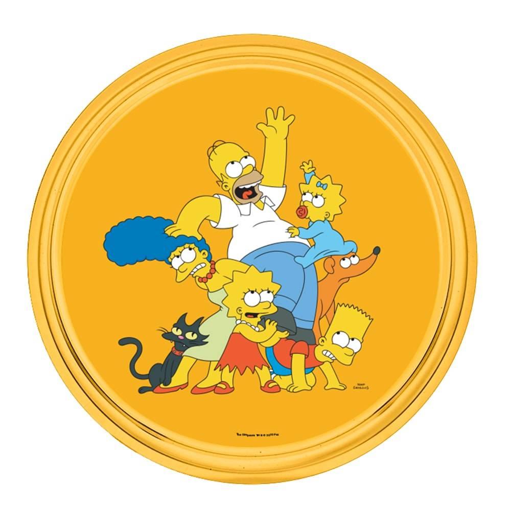 Bandeja Família The Simpsons Amarela em Metal - 30x2,5 cm