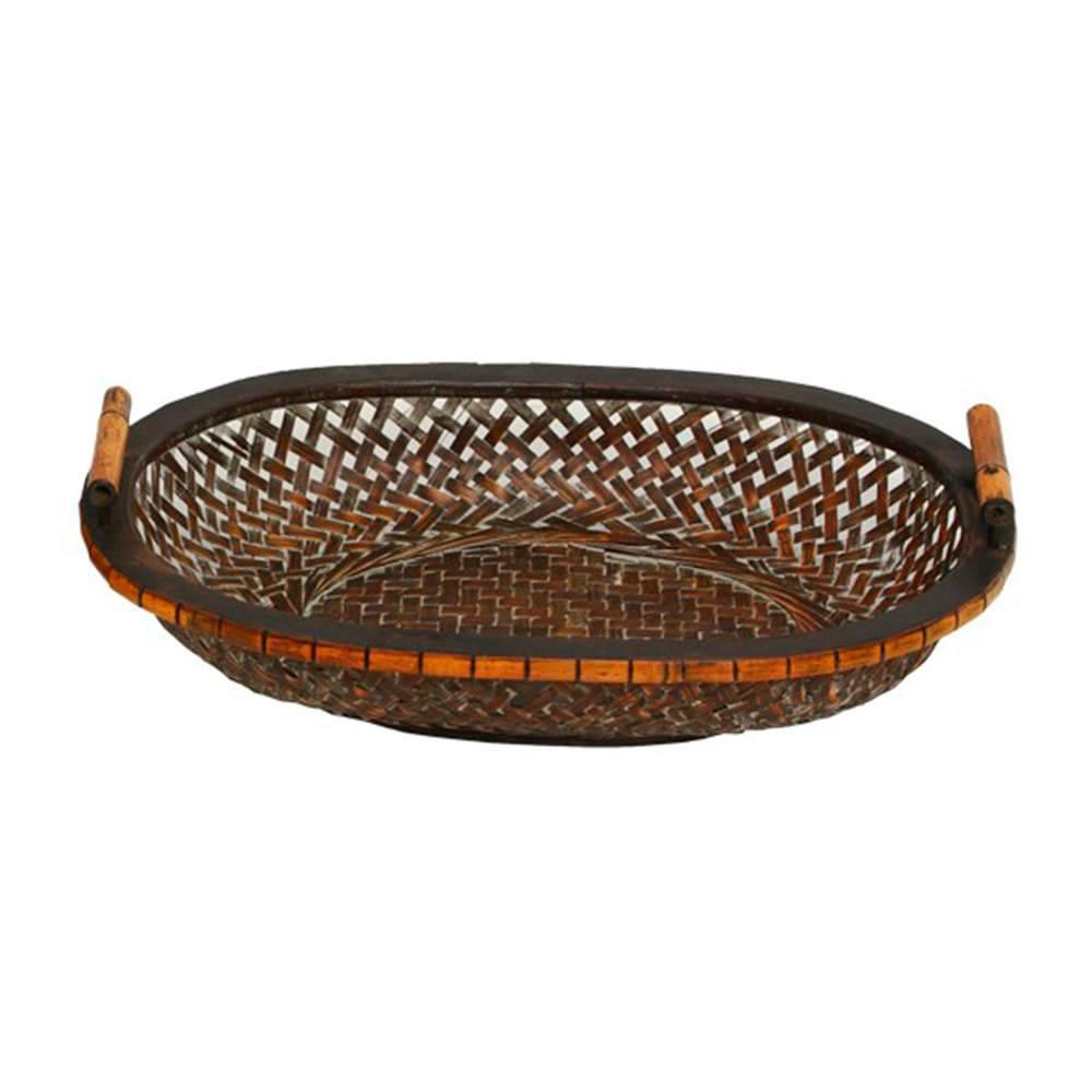 Bandeja Fast com Alças Grande Marrom em Bambu - 51x37 cm