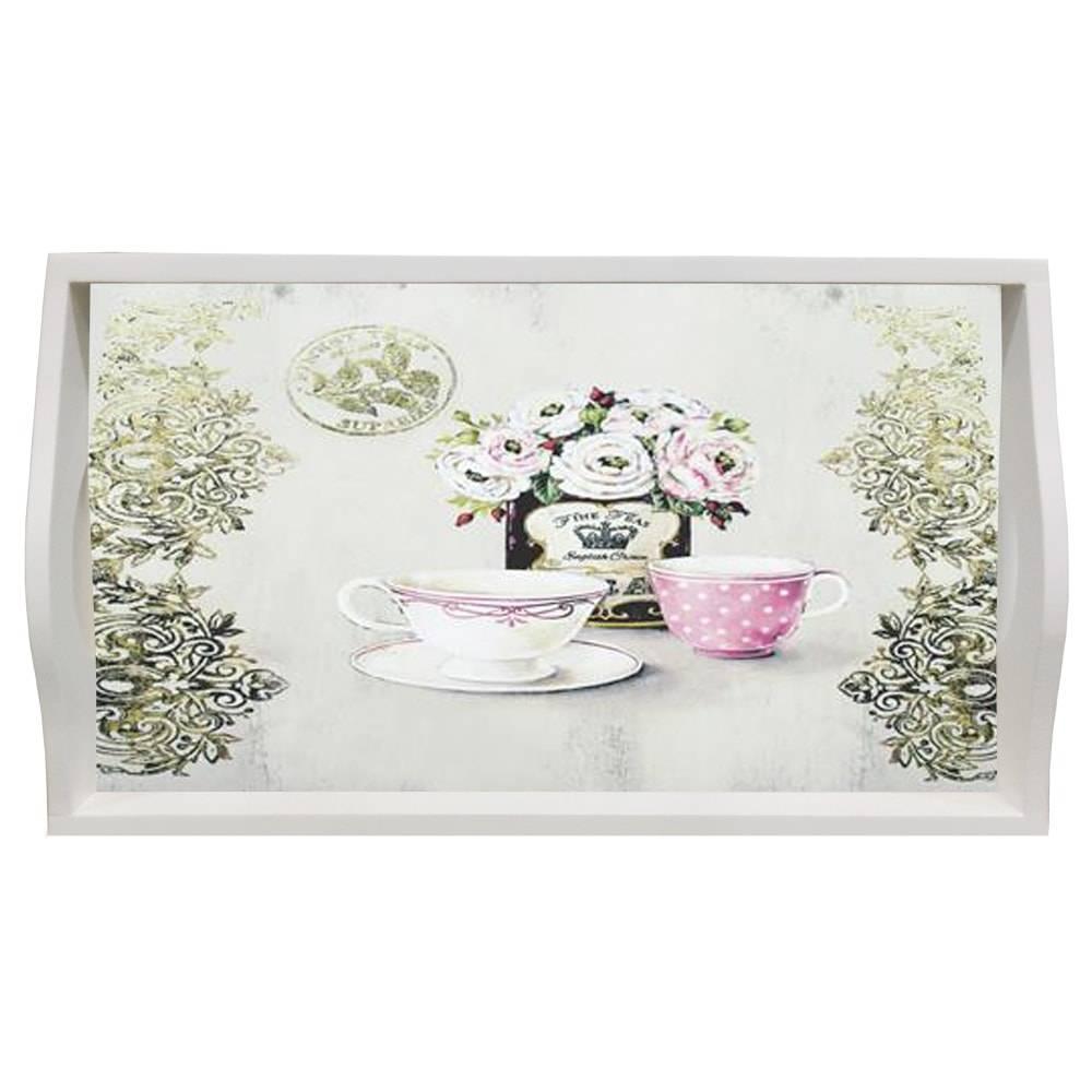 Bandeja Fine Tea Média em MDF e Fundo de Vidro - 38x24 cm