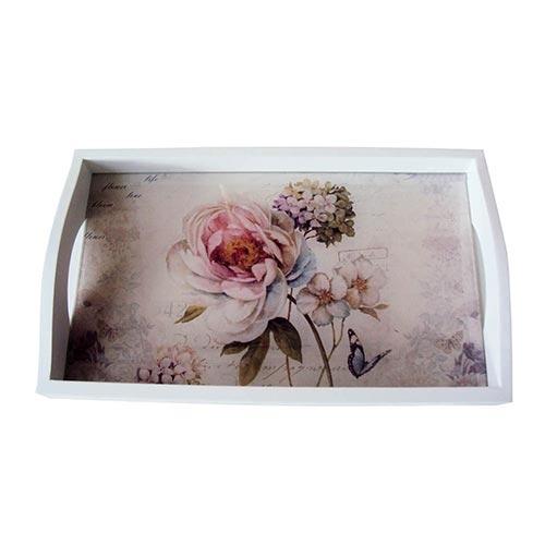 Bandeja Flor Hortência Rosa Pequena em MDF e Fundo de Vidro - 32x20 cm