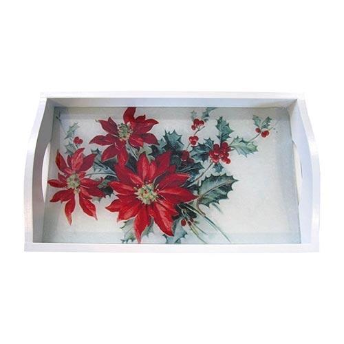 Bandeja Flor de Natal Média em MDF e Fundo de Vidro - 38x24 cm