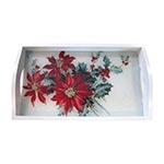 Bandeja Flor de Natal Pequena em MDF e Fundo de Vidro - 32x20 cm