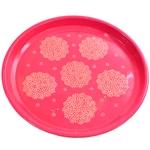Bandeja Floral Pink I em Metal - 33x32 cm