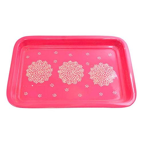 Bandeja Floral Pink II em Metal - 33x23 cm