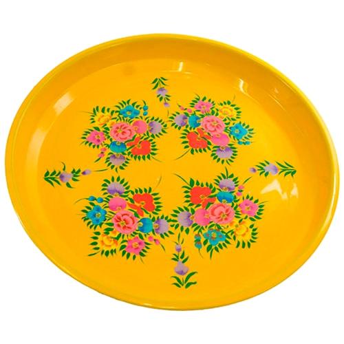 Bandeja Floral Yellow em Metal - 33x32 cm