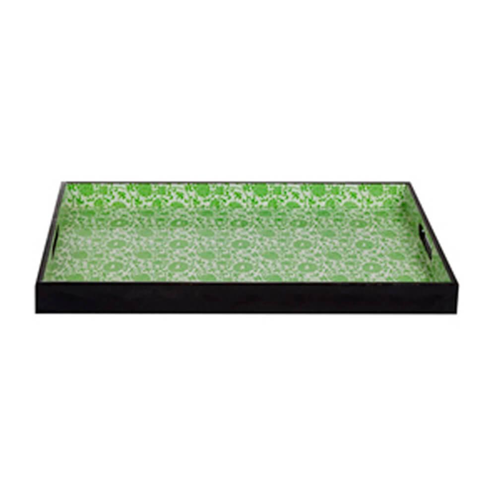 Bandeja Flores Verdes e Borda Preta em MDF - Urban - 45x29 cm