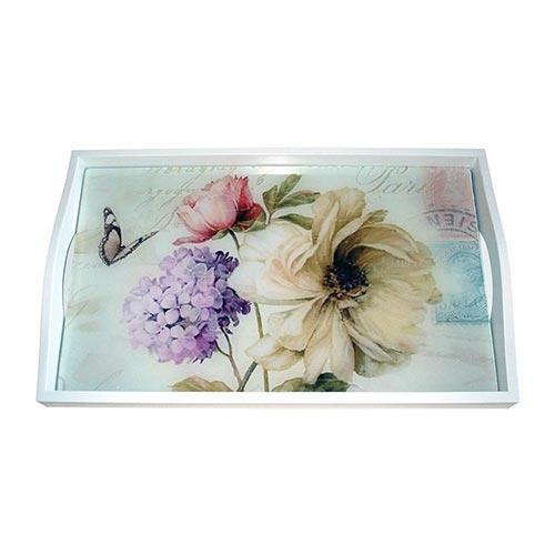Bandeja Flores Vintage Pequena em MDF e Fundo de Vidro - 32x20 cm