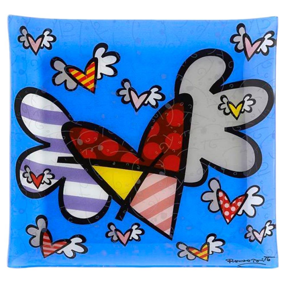 Bandeja Flying Heart - Romero Britto - em Vidro - 30x25 cm