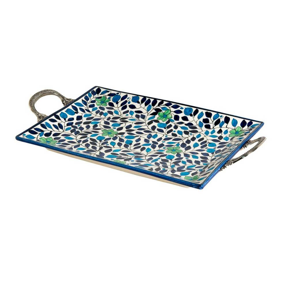 Bandeja Form Azul com Alças Média em Cerâmica - 37x26 cm