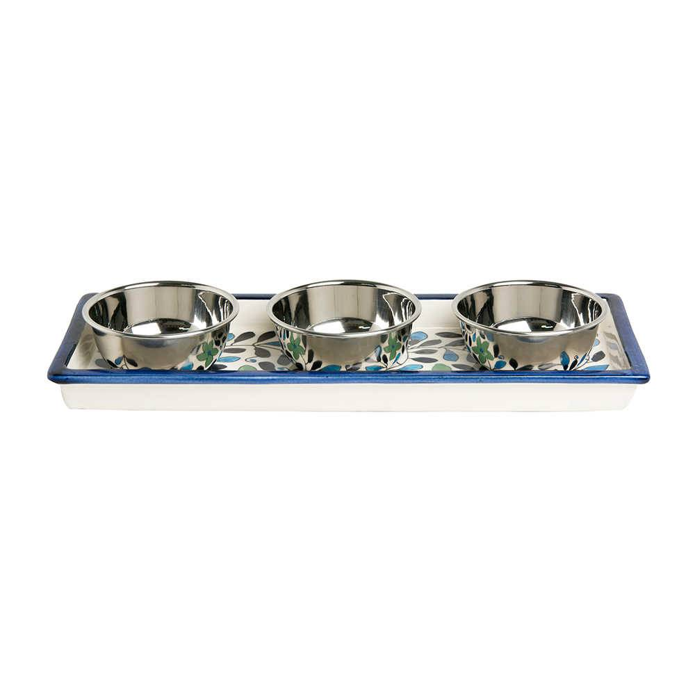 Bandeja Form Azul em Cerâmica com 3 Bowls em Aço Inox - 36x15 cm