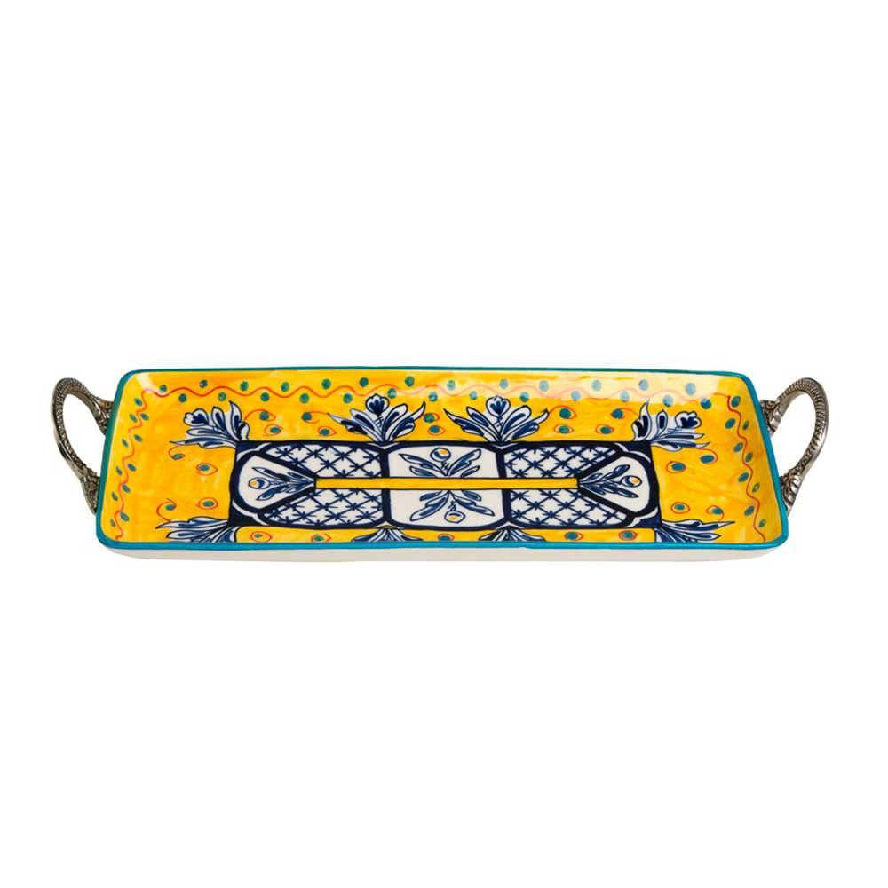 Bandeja Fragose Amarelo e Azul com Alças Grande em Cerâmica - 55x16 cm