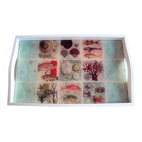 Bandeja Frutos do Mar Pequena em MDF e Fundo de Vidro - 32x20 cm