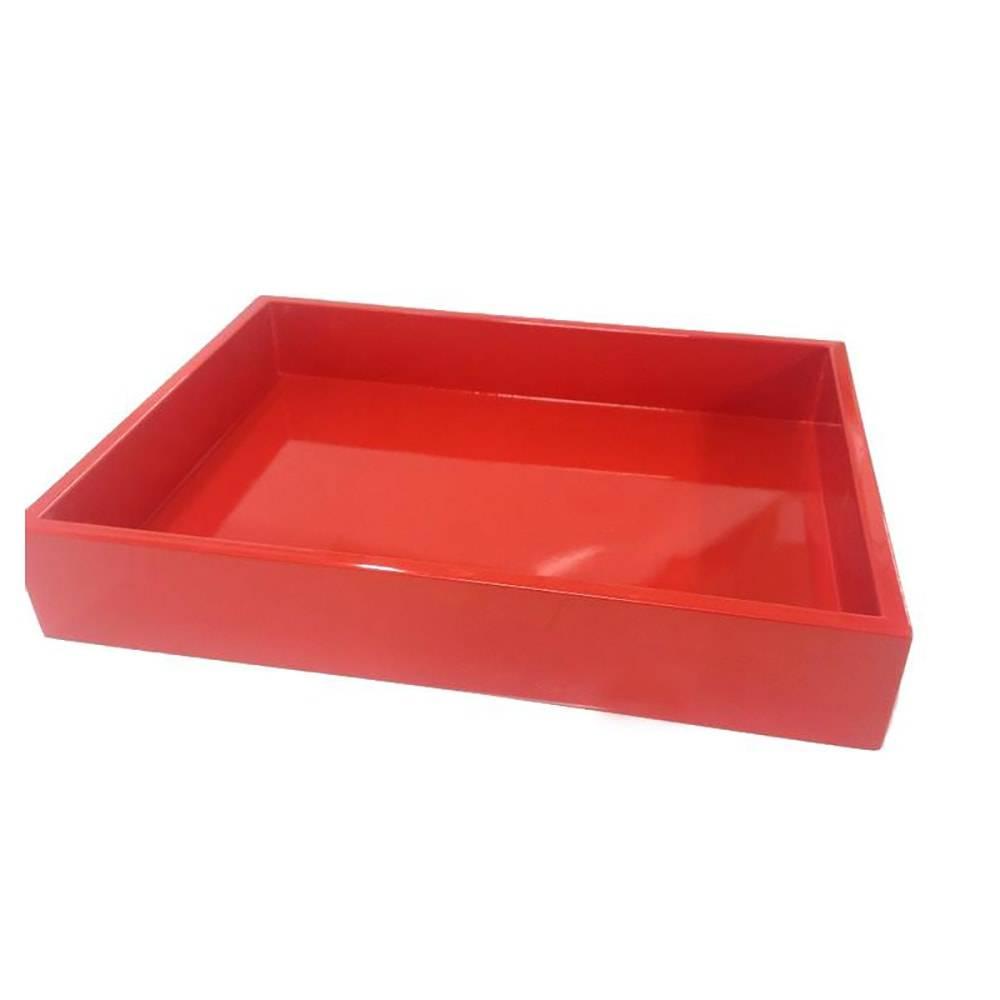 Bandeja Gourmet em MDF Laqueado Vermelho - 36x26 cm
