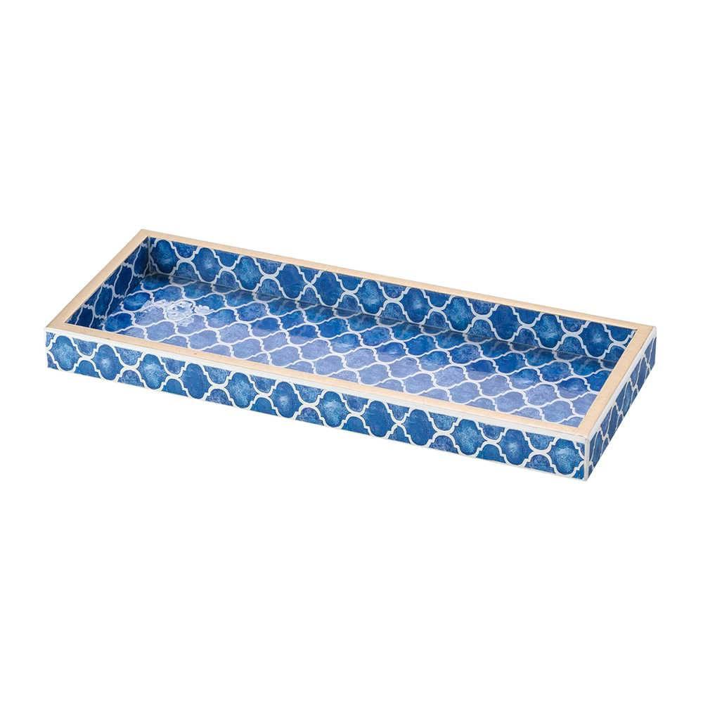 Bandeja Gracie Azul em Madeira - Lyor Classic - 30x12 cm