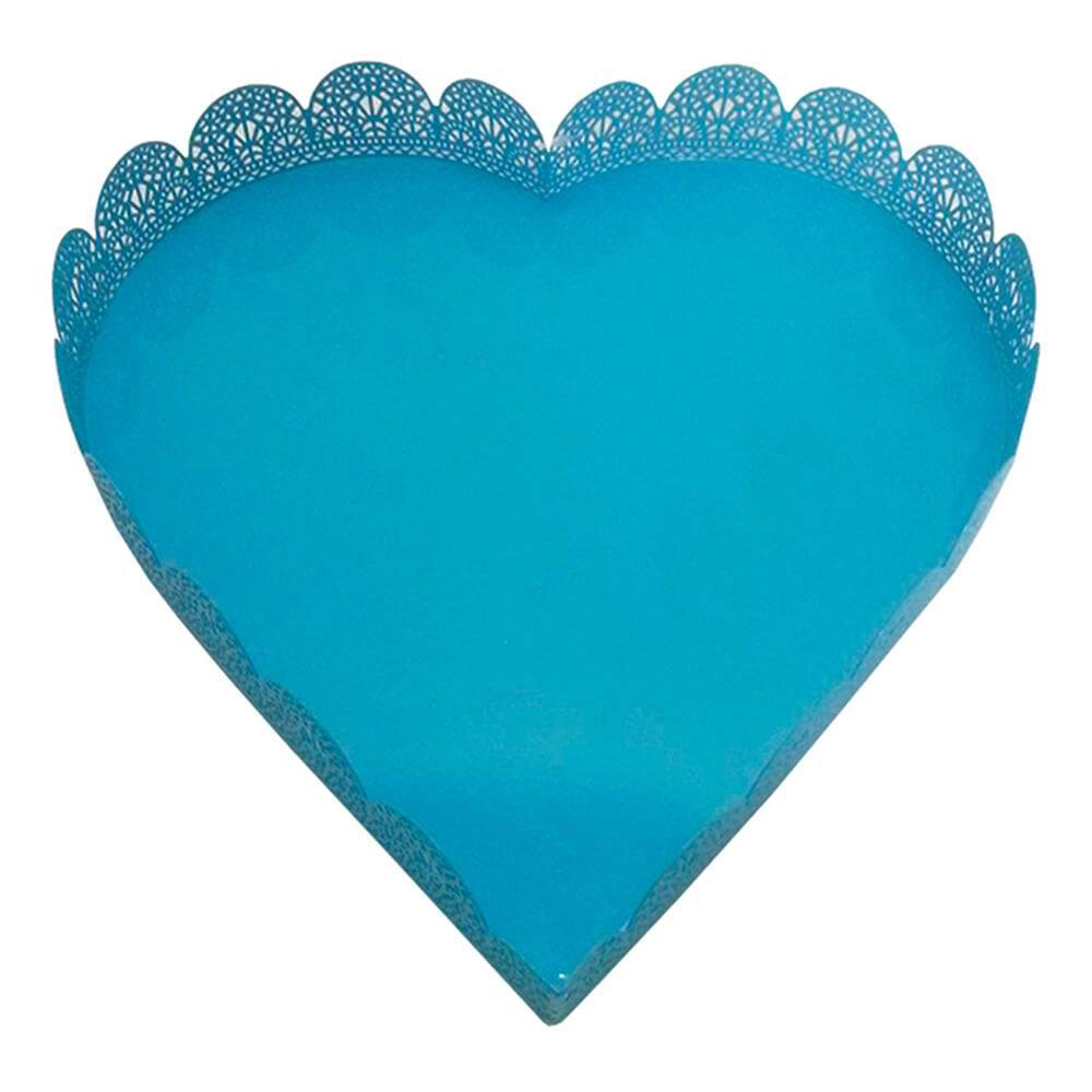 Bandeja Grande de Coração Fancy Laces Azul em Ferro - Urban - 26,5x26,5 cm