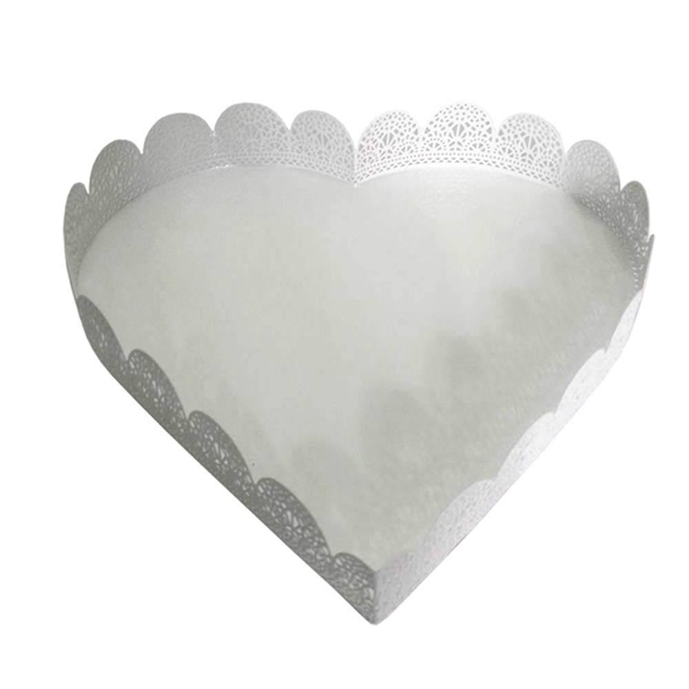 Bandeja Grande de Coração Fancy Laces Branca em Ferro - Urban - 26,5x26,5 cm