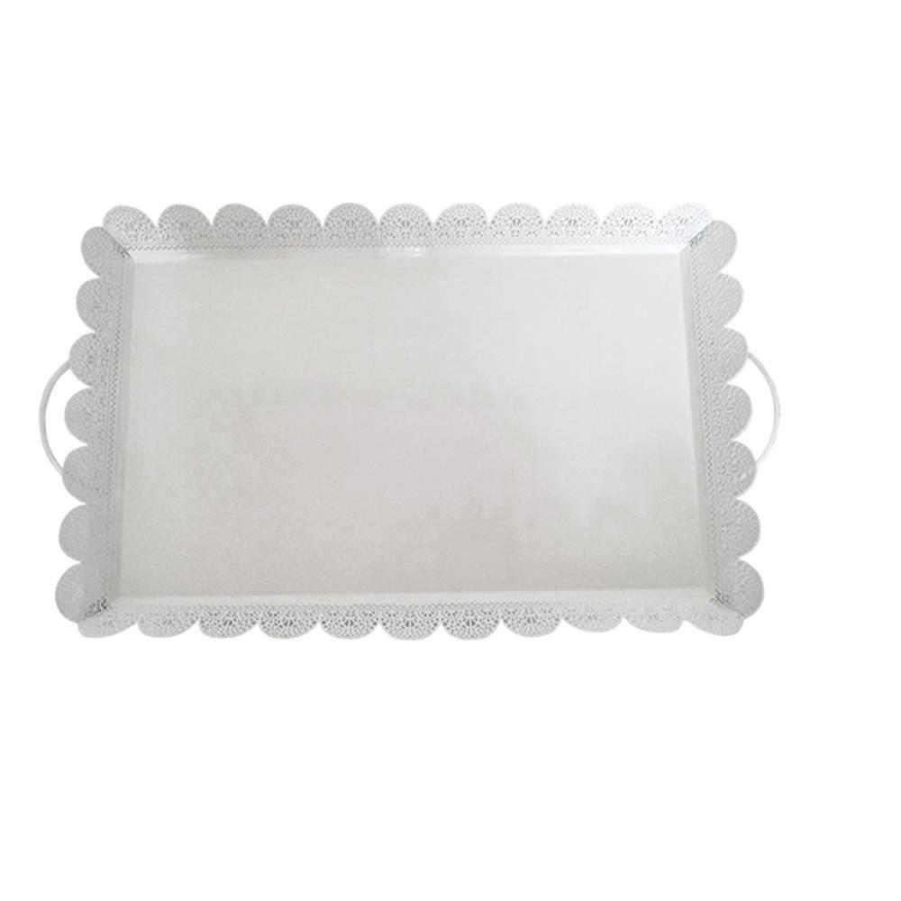 Bandeja Grande Quadrada Fancy Laces Branca em Ferro - Urban - 49x29 cm