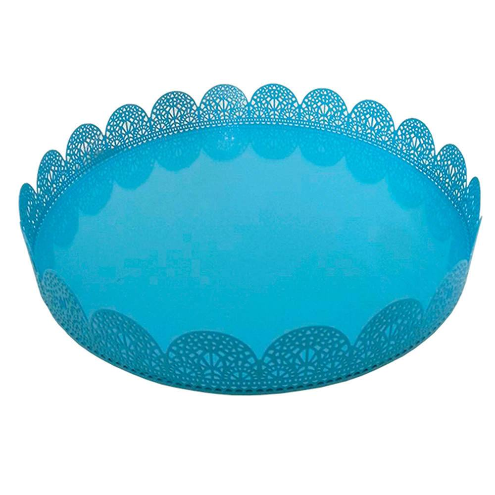 Bandeja Grande Redonda Fancy Laces Azul em Ferro - Urban - 25,3x3,5 cm