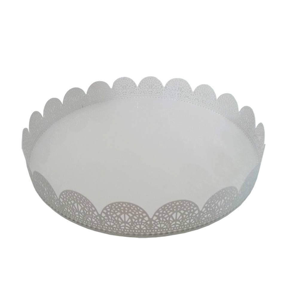 Bandeja Grande Redonda Fancy Laces Branca em Ferro - Urban - 25,3x3,5 cm