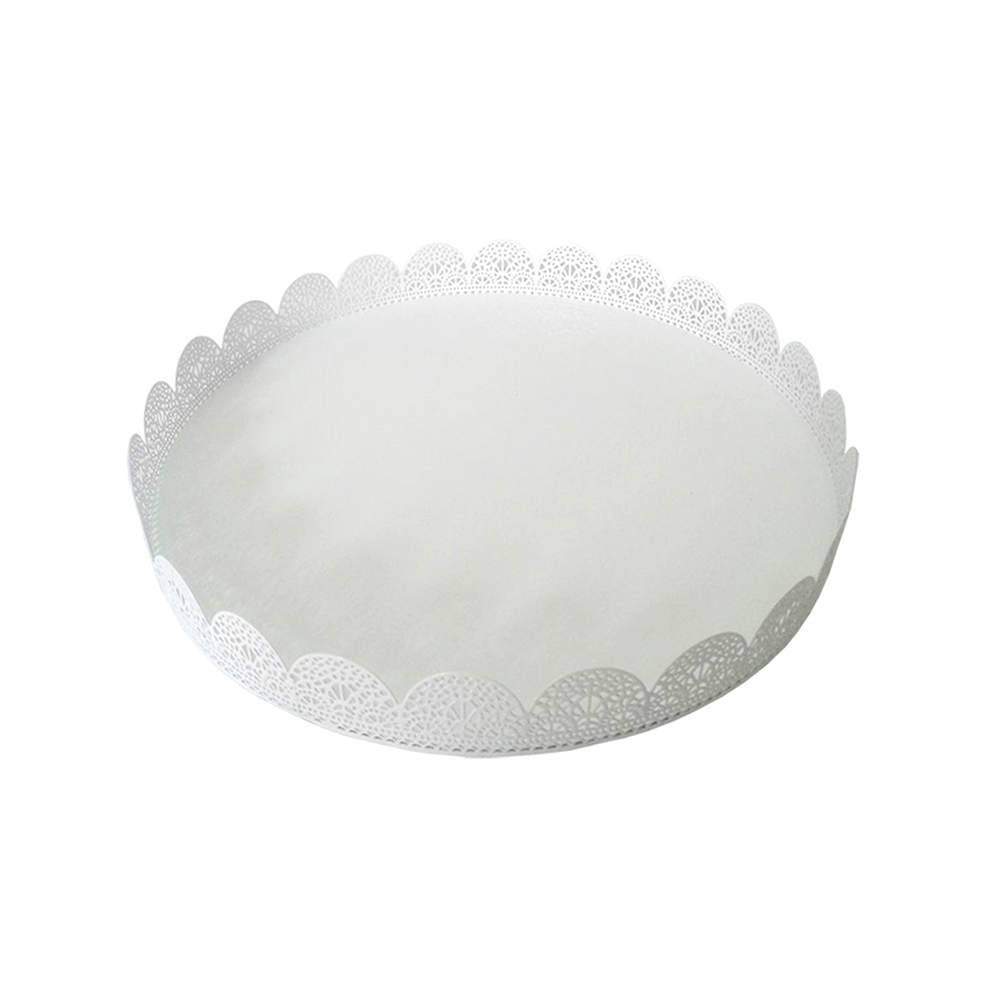 Bandeja Grande Redonda Fancy Laces Branca em Ferro - Urban - 30x3,5 cm