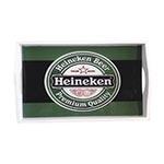 Bandeja Heineken Beer Pequena em MDF e Fundo de Vidro - 32x20 cm