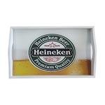 Bandeja Heineken Chopp Média em MDF e Fundo de Vidro - 38x24 cm