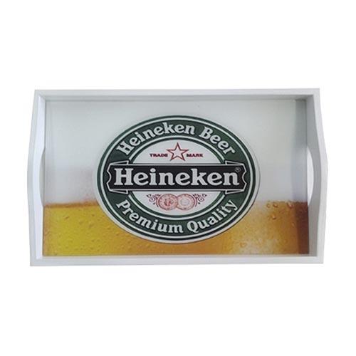 Bandeja Heineken Chopp Pequena em MDF e Fundo de Vidro - 32x20 cm