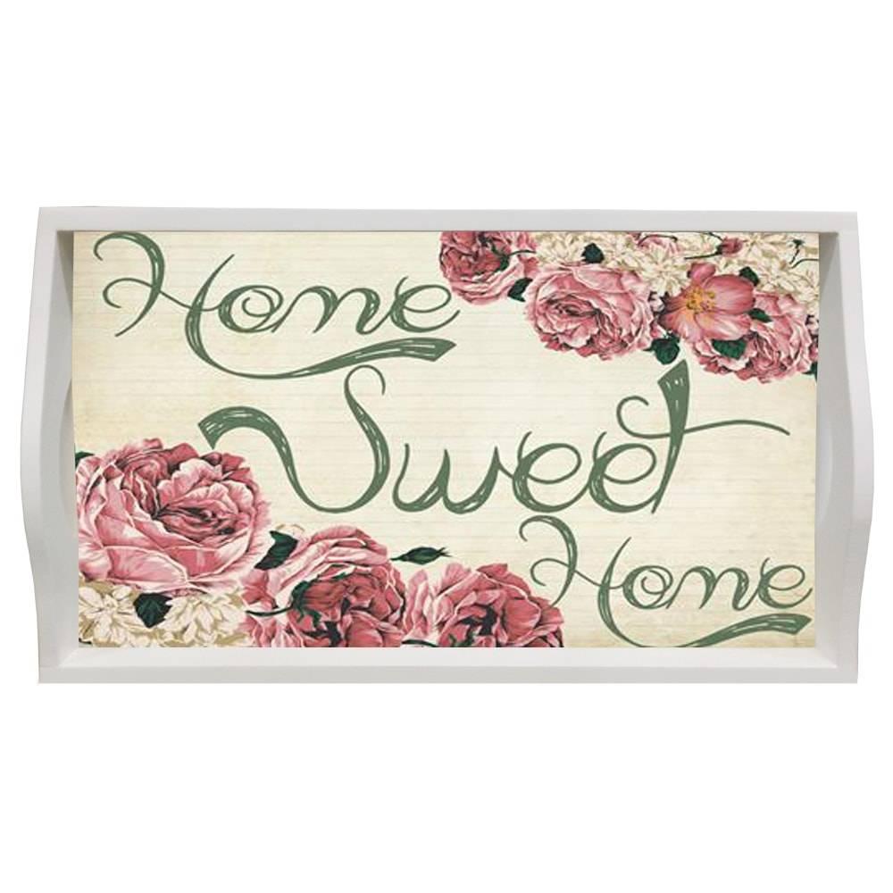 Bandeja Home Sweet Home Pequena em MDF e Fundo de Vidro - 32x20 cm