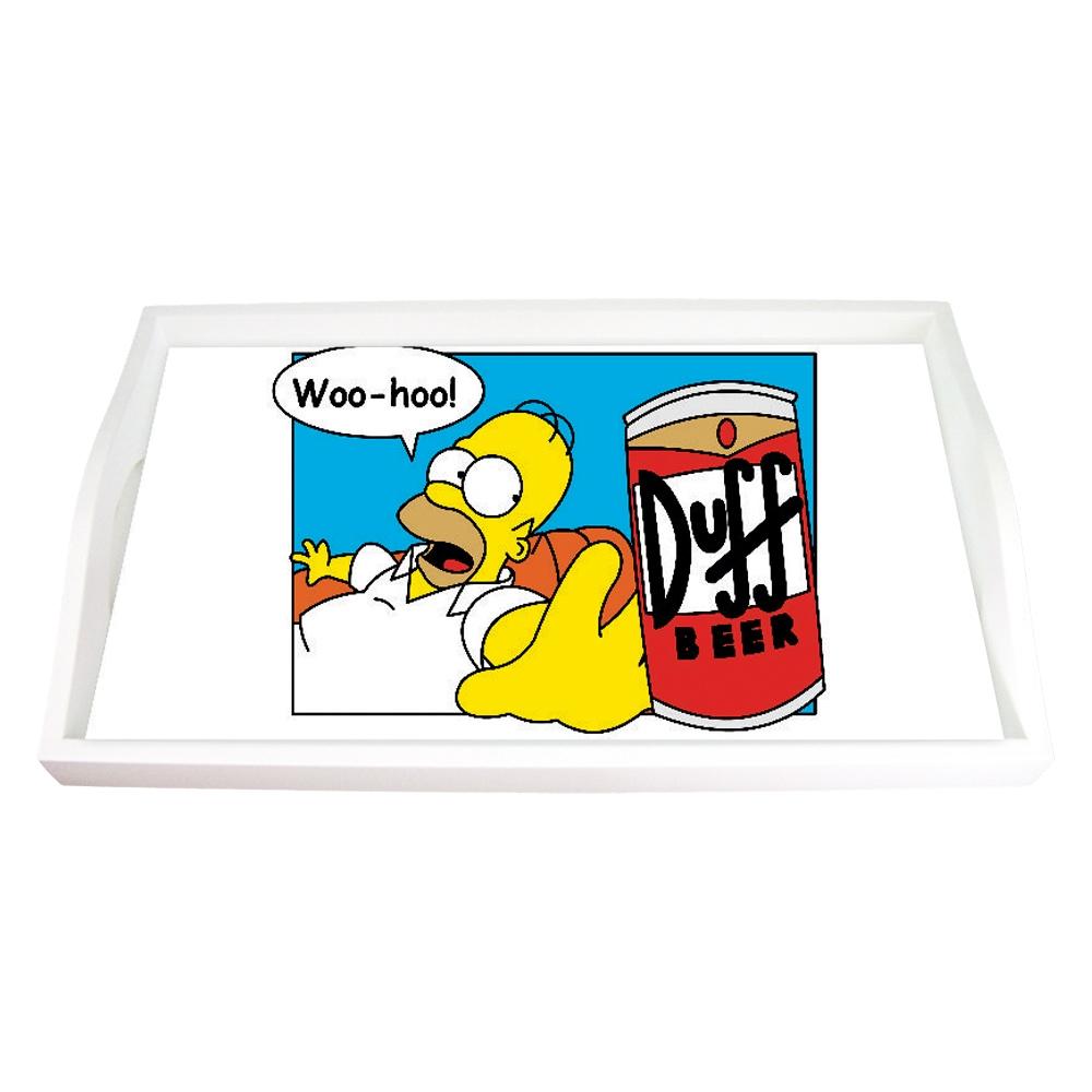 Bandeja Homer e a Lata de Duff Vermelha Média em MDF - 38x24 cm