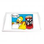 Bandeja Homer e a Lata de Duff Vermelha Pequena em MDF - 32x19,5 cm