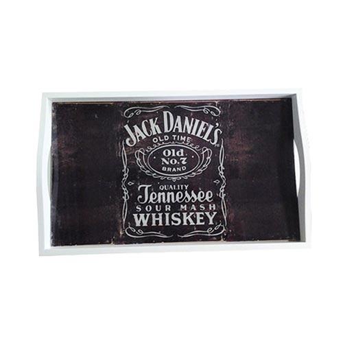Bandeja Jack Daniels Média em MDF e Fundo de Vidro - 38x24 cm