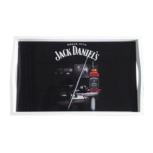 Bandeja Jack Daniels Sinuca Média em MDF e Fundo de Vidro - 38x24 cm