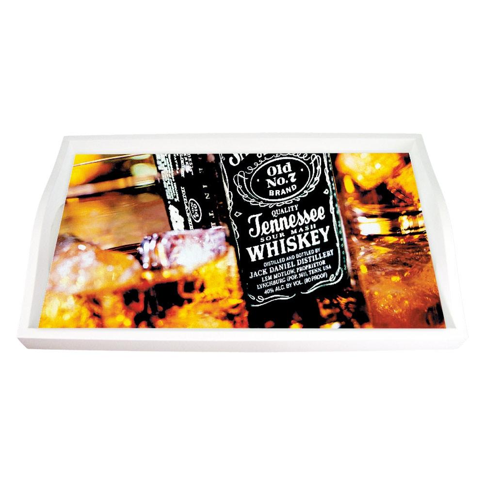 Bandeja Jack Daniels Whisky Marrom Pequena em MDF - 32x19,5 cm