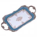Bandeja Jade Azul com Alça em Resina - 38x21 cm