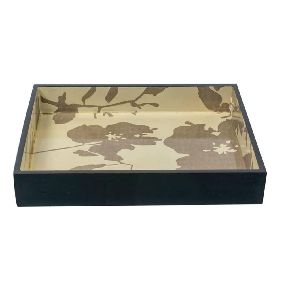Bandeja Jasm Estampada Preta em Resina - 22x22 cm
