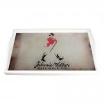 Bandeja Johnnie Walker Fundo Bege Pequena em MDF - 32x19,5 cm