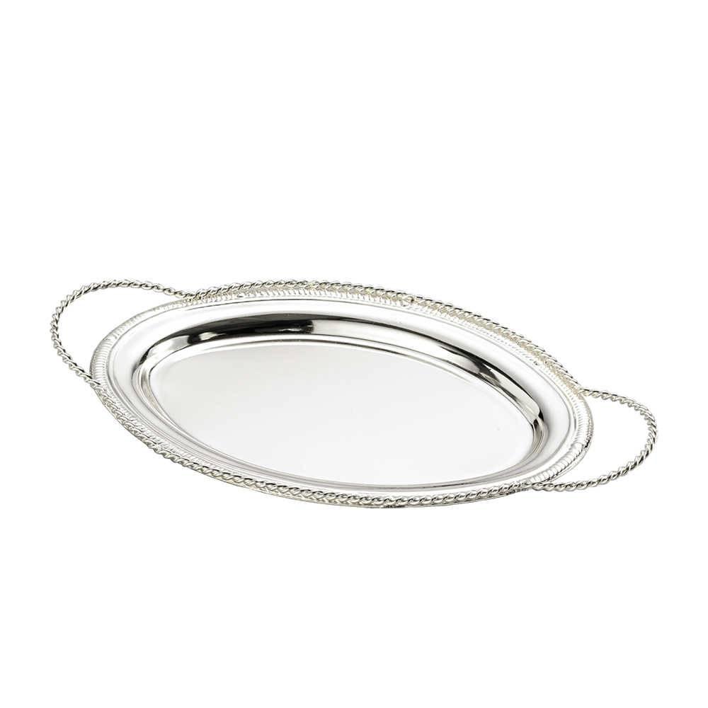 Bandeja Laila Oval em Zamac c/ Alças - Lyor Classic - 22,6x13,5 cm