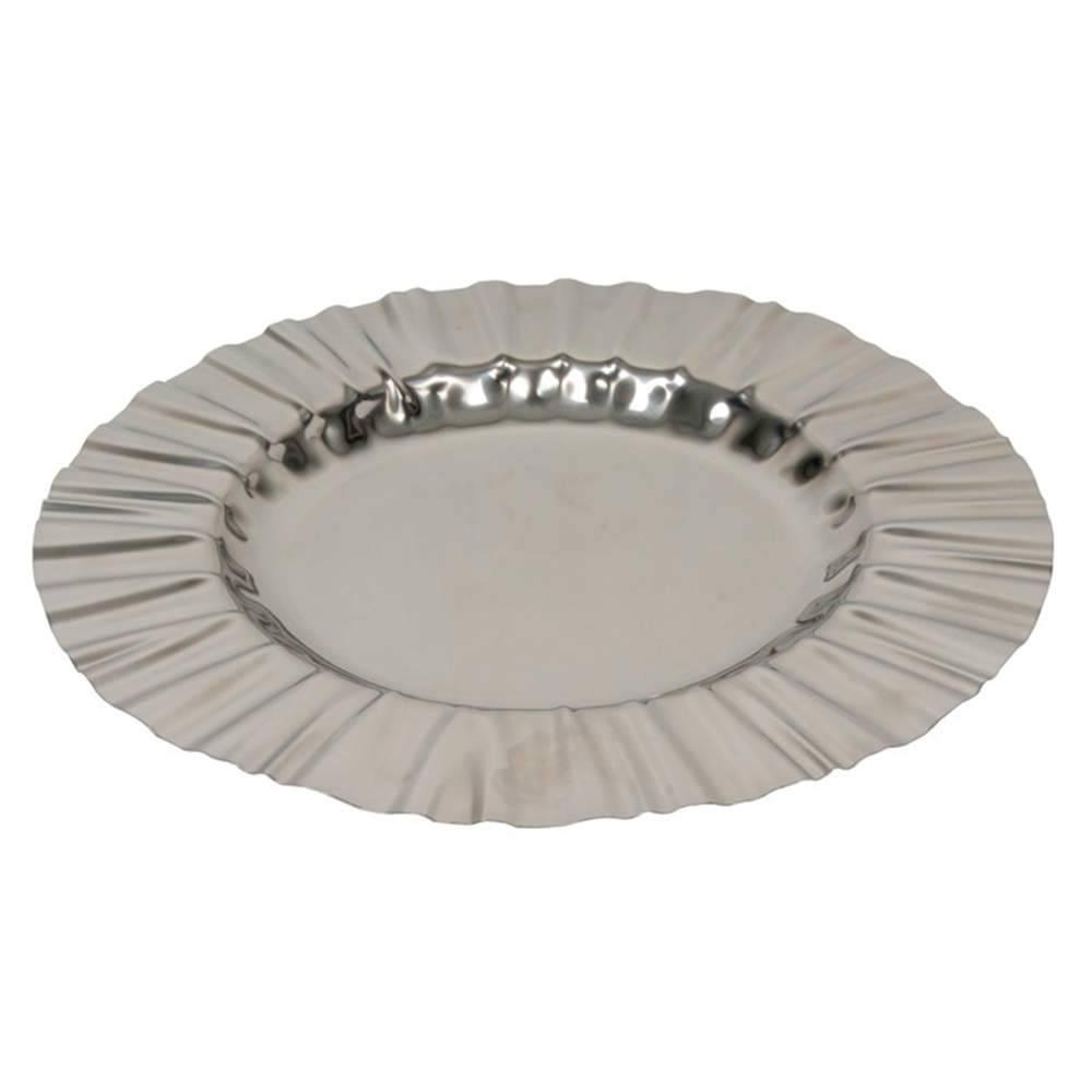 Bandeja Lain Média Prata em Aço Inox - 46x46 cm