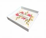 Bandeja Laqueada Branca Com Azulejo No Fundo Com Impressão Digital - Essence - Pequena