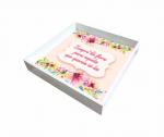 Bandeja Laqueada Branca Com Azulejo No Fundo Com Impressão Digital - Flores - Pequena