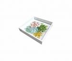 Bandeja Laqueada Branca Com Azulejo No Fundo Com Impressão Digital - Suculenta - Pequena