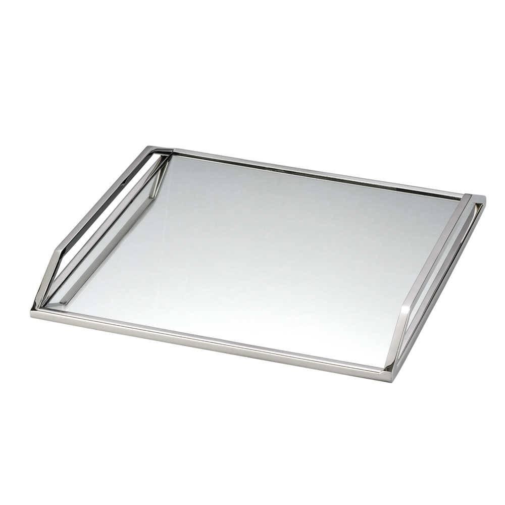 Bandeja Lara em Aço Inox com Fundo Espelhado - Lyor Design - 40x40 cm
