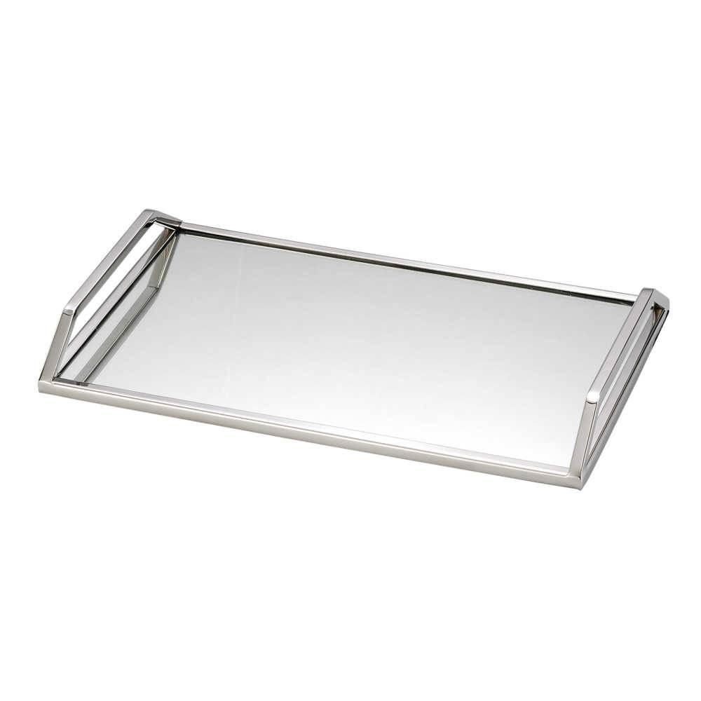 Bandeja Lara em Aço Inox com Fundo Espelhado - Lyor Design - 41x26 cm