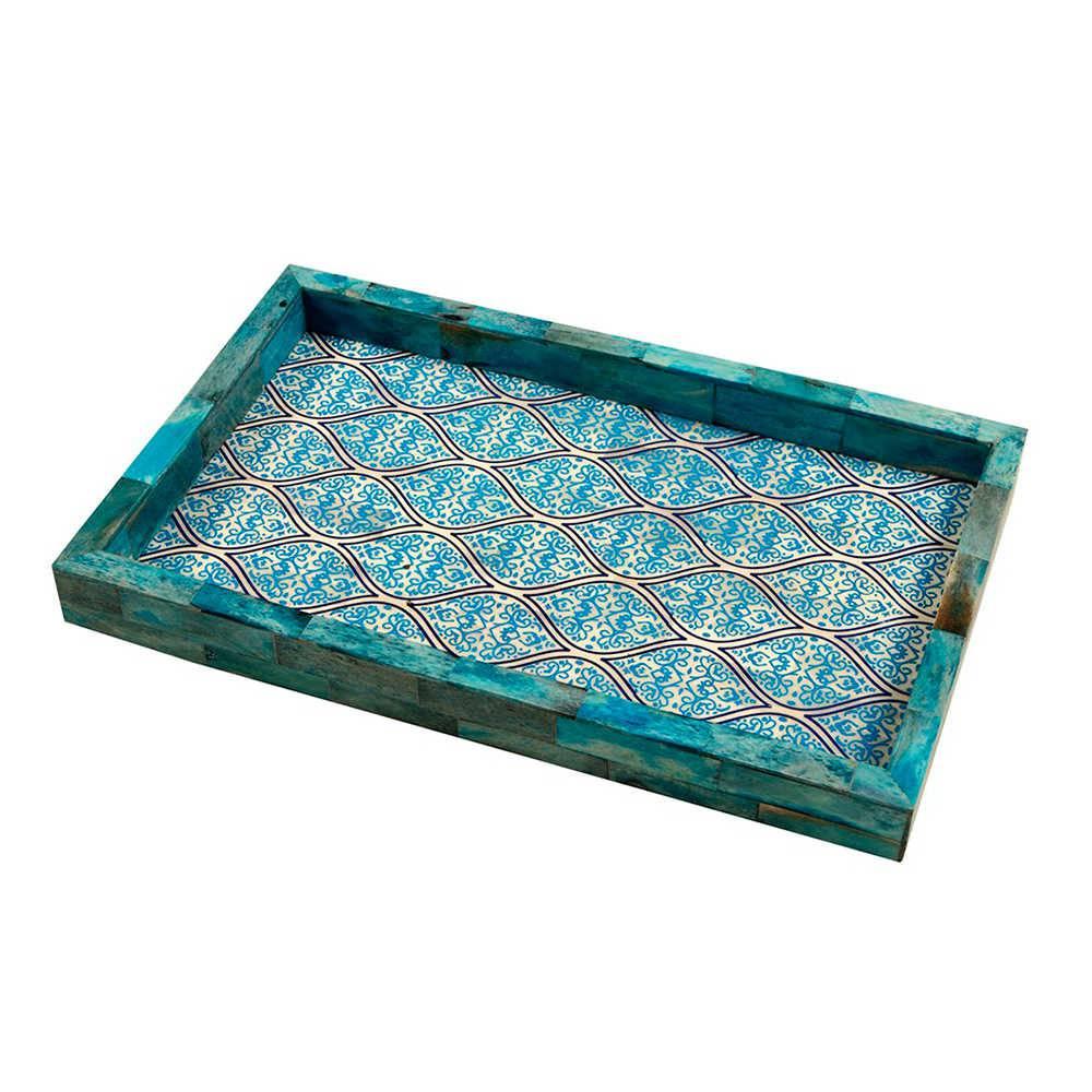 Bandeja Last Azul em Madeira com Revestimento em Chifre - 33x20 cm