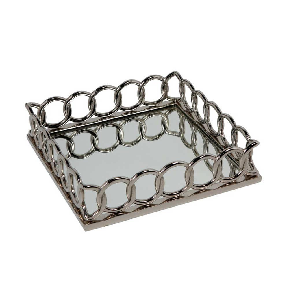 Bandeja Lathers Prata Espelhada em Aço Inox - 47x47 cm
