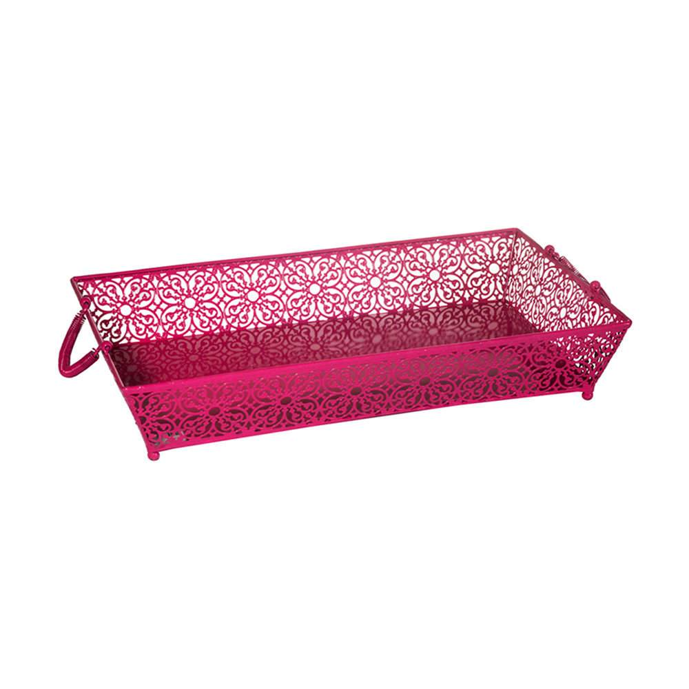 Bandeja Le Fleur Fucsia Rosa em Metal - Urban - 50x30 cm