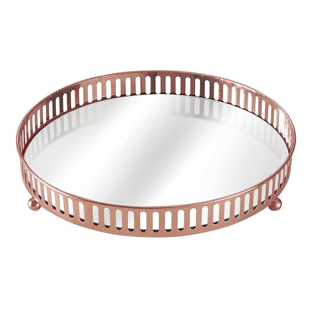 Bandeja Leslie Cobre Pequena em Metal com Espelho - 24,5x4,5 cm