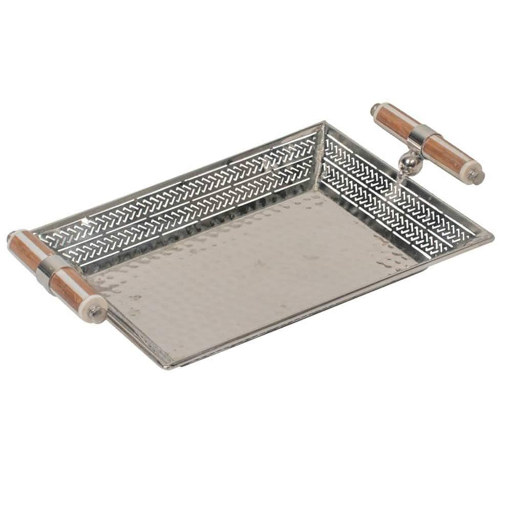 Bandeja Liyer em Metal com Alças de Chifre - 38x24 cm